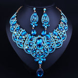 Luxury Bridal Jewelry Sets Gold plated Statement Necklace and drop Earrings for Brides Wedding African Jewelry sets - onlinejewelleryshopaus