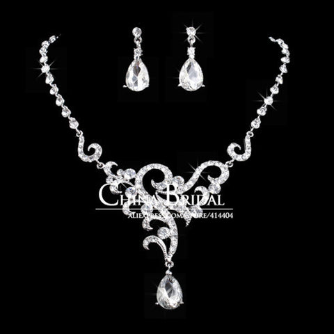 Crystal Necklace Sets, 2031T, Drop Women Bridal Jewelry Wedding Accessory,Bulksale - onlinejewelleryshopaus