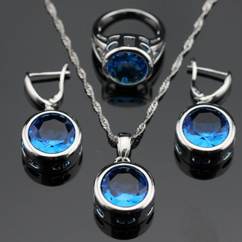 Made in China Round Blue Created Topaz Silver Color Bridal Jewelry Sets For Women Pendant Necklace Earrings  Free Gift Box - onlinejewelleryshopaus