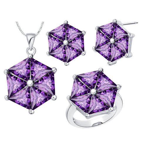 Uloveido Cute Umbrella Bridal Jewelry Sets with Stones Silver Plated Purple Crystal Necklace Set Earrings Ring for Women T579 - onlinejewelleryshopaus