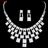 Hot New Fashion Women Necklaces Water Drop Square Rhinestone Bridal Jewelry Sets Necklaces & Pendants Earrings Jewelry Gift - onlinejewelleryshopaus