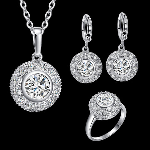 Luxury Brand Alloy Plating White K Round Bridal Jewelry Sets For Women AAA Zircon Pendants Chain Clavicle Necklace Earrings - onlinejewelleryshopaus
