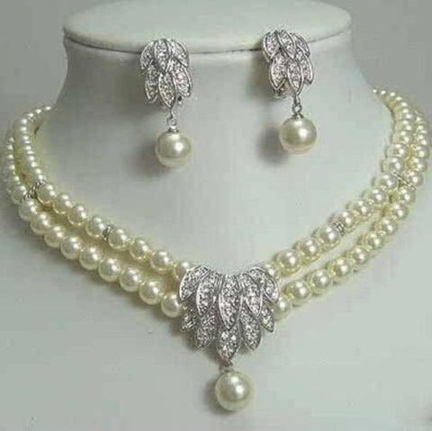 Hot selling free shipping*****Fancy Bridal Jewellery Akoya Pearl Necklace Earring color Fashion - onlinejewelleryshopaus