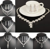 Fashion 16Styles Shinning Sliver Plated Prom Wedding Bridal Jewelry Crystal Rhinestone Necklace Earring Sets - onlinejewelleryshopaus