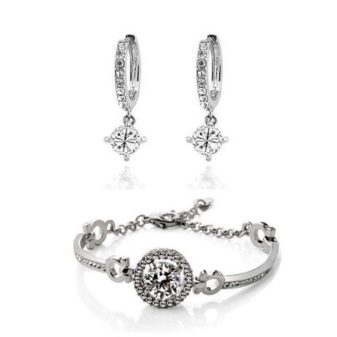 new arival Design wedding bridal jewelry 18k platinum plated high quality round zircon pendant bracelet earrings sets 84523 - onlinejewelleryshopaus