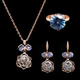 2016 New Arrival Fashion Bridal Jewelry Set  Cubic Zirconia Necklace Ring Earrings Rose Flower Jewelry Accessories Drop Ship - onlinejewelleryshopaus