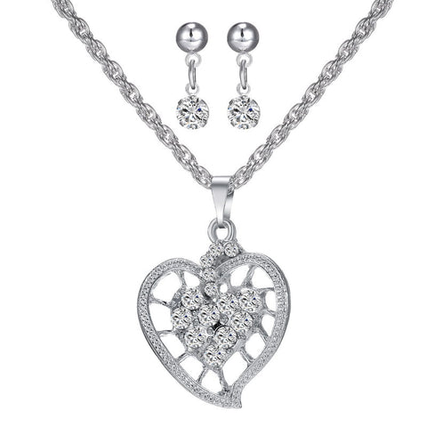 2016 Luxury Austria Crystal Hellow Out Heart Love Pendant Wedding Bridal Jewelry Sets Rhodium Plated Necklace Earrings for Women - onlinejewelleryshopaus