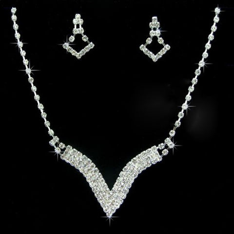 New Wedding Jewellery Set V Shaped Rhinestone Crystal Bridal Jewelry Sets For Women Geometry Statement Necklace/Earrings Set - onlinejewelleryshopaus