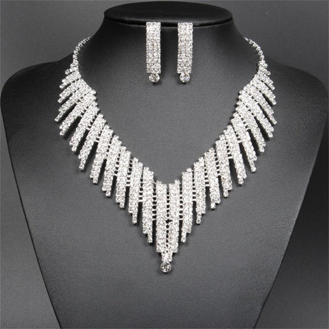Wedding Bridal Jewelry Set Crystal Rhinestone V Shape Necklace and Earrings for Women Silver Plated - onlinejewelleryshopaus