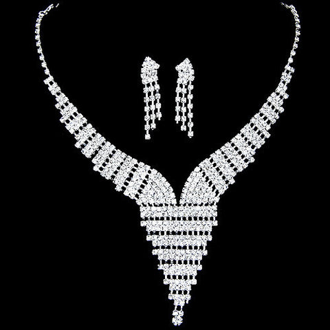 2017 New Wedding Jewellery Set Austrian Crystal Bridal Jewelry Sets For Women Long Tassel Statement Necklace/Earrings Set - onlinejewelleryshopaus