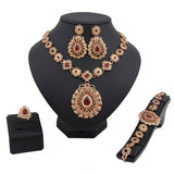 Classic Gold Plated African Jewelry Set Fashion women Wedding Bridal Jewellery Set crystal semi-precious stone jewelry set - onlinejewelleryshopaus
