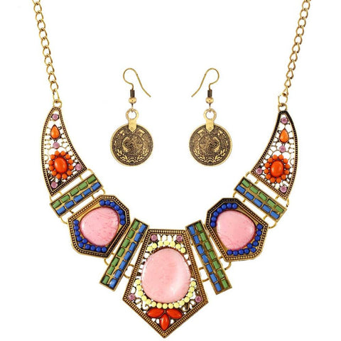ZOSHI New Crystal Stone Jewelry Set Necklace Earrings African Maxi Statement Jewelry Wedding Bridal Pendant Dress Accessories - onlinejewelleryshopaus