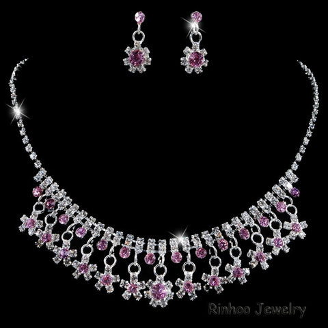 Fashion Indian Jewellery Crystal Necklace Earrings Bridal Jewelry Sets For Brides Party Wedding Accessories Decoration - onlinejewelleryshopaus