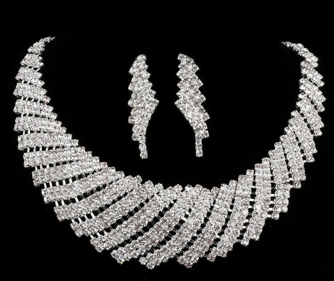 New Wedding Jewellery Set Austrian Crystal Bridal Jewelry Sets For Women Long Tassel Statement Necklace/Earrings Set - onlinejewelleryshopaus