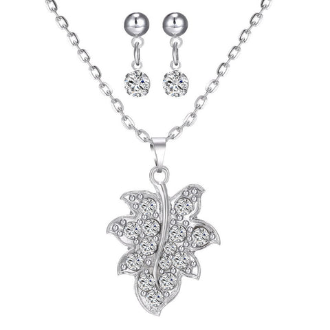 Women Luxury Bling Austria Crystal Maple Leaf Pendant Wedding Bridal Jewelry Sets Rhodium Plated Necklace Earrings Jewelry Set - onlinejewelleryshopaus