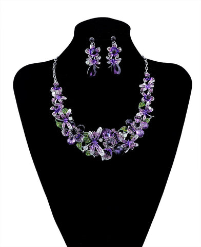 Fashion Elegant Crystal Butterfly Flower Jewelry Sets Wedding Amethyst Green Crystal Statement Necklace Bridal Earrings Set - onlinejewelleryshopaus