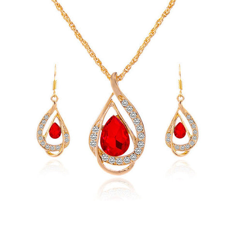 2016 New Fashion Women Gold Plated Chain Crystal Necklace Bridal Jewelry Set - onlinejewelleryshopaus