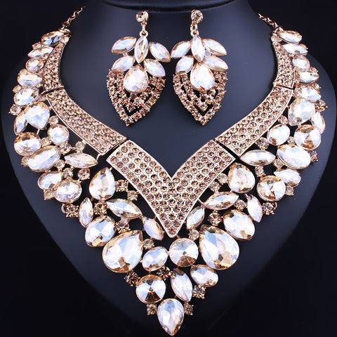 2017 New Heart Shaped Statement Necklace Earrings for Women Wedding Accessory Color Crystal Glass African Bridal Jewelry sets - onlinejewelleryshopaus