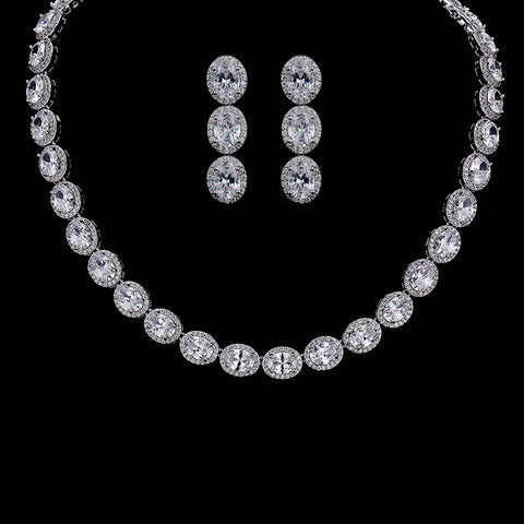 Top Quality Oval Exquisite Zircon Necklace Set Luxurious Shinny Cubic Zirconia Bridal Jewelry sets - onlinejewelleryshopaus