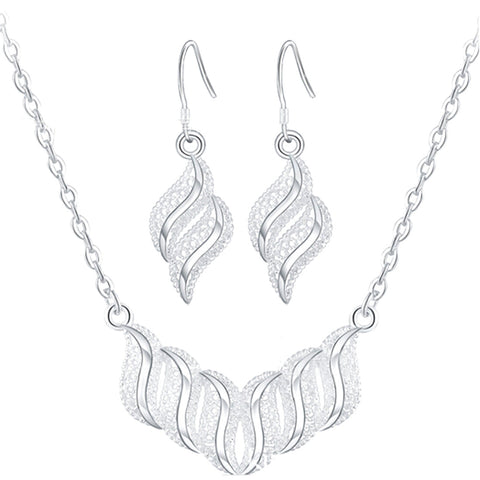 Fashion Waved Leaf Shaped Pendant Earrings 2016 Silver Plated Necklace Set Wedding Bridal Bridesmaid African Jewelry Earings And - onlinejewelleryshopaus