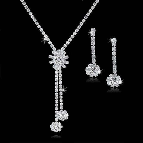 2015 Brand Jewelry African Costume Jewelry Silver Plated  Set Crystal Womens Jewellery Wedding Bridal Jewelry Set SET150047 - onlinejewelleryshopaus