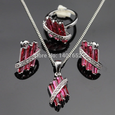 Red Created Ruby Bridal Jewelry Sets Women Silver Color Necklace/Pendant/Earrings/Rings Fashion Free Gift  Box Made in China - onlinejewelleryshopaus