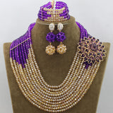 Beautiful Women Costume African Jewellery Set Wine Burgundy Crystal Bridal Dubai Gold Jewelry Sets 2016 Hot Free Shipping WD185 - onlinejewelleryshopaus