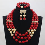 Charming Red and Red Round Beaded African Bridal Jewelry Sets Red Coral Jewellery Set for Women 2017 Free Shipping WD953 - onlinejewelleryshopaus