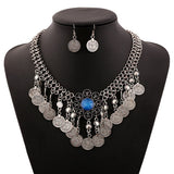 New Wedding Jewellery Set Austrian Crystal Bridal Jewelry Sets For Women Coin tassel Statement Necklace Earrings Set S0516 - onlinejewelleryshopaus