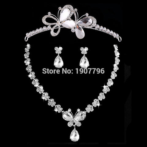 New Wedding Jewellery Set Austrian Crystal Bridal Jewelry Sets For Women Long Tassel Statement NecklaceEarrings Set Crown - onlinejewelleryshopaus