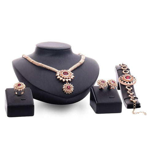 jewelry sets plated wedding bridal african earing gold crystal fashion jewellery dubai sieraden women necklace perhiasan set - onlinejewelleryshopaus