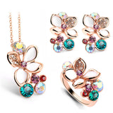 Fashion Multi Color Flower Crystal Rhinestone Gold Plated Pendant Necklace/Earring/Ring Bridal Jewelry Set For Women Wedding - onlinejewelleryshopaus