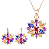 Hot Sale Fashion Bridal Jewelry Set  AAA Cubic Zirconia Colorful/White Shape Pendant Neckalce Earring Women Jewelry Accessories - onlinejewelleryshopaus
