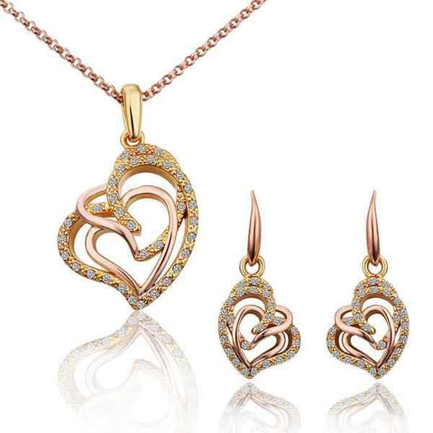 Hot Sale18K Real Gold Plated Rose Gold   Three Heart Pendant Necklace And Earring Romantic  Bridal Jewellery Set S292 - onlinejewelleryshopaus