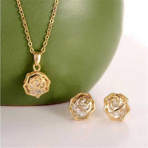 New Wedding Jewellery Set Gold Plated White Cubic Zirconia Charming Flower Necklace Earrings For Women Bridal Jewelry Sets - onlinejewelleryshopaus
