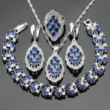 Blue Created Sapphire Stones Silver Color Bridal Jewelry Sets For Women Necklace Pendant Bracelets Earrings Rings Free Gift Box - onlinejewelleryshopaus