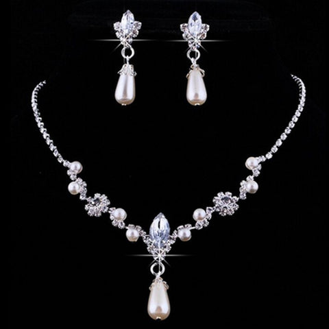 2016 Fashion Alloy Necklaces Earrings Rhinestone Wedding Rhinestone Bridal Jewelry Sets Wholesale Jewellery For Women B5 - onlinejewelleryshopaus