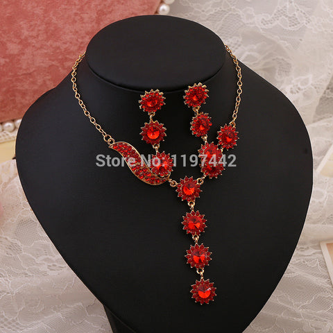 Red bridal necklace earrings bridal jewelry sets wholesale crystal chain jewellery noiva earrings indian jewelry - onlinejewelleryshopaus