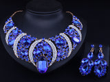 African Jewelry CK Gold plated Resin Crystal Necklace and Drop Earrings set for women Bridal Jewelry sets - onlinejewelleryshopaus