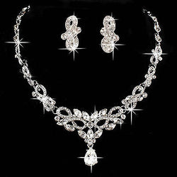 U119 Free Shipping Wedding Bridal Bridesmaid Party Crystal Rhinestone Necklace Earring Jewelry Sets - onlinejewelleryshopaus