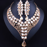 Luxurious Crystal Bridal Jewelry Set Gold Plated Statement Necklace Earrings Indian Wedding Jewelry sets - onlinejewelleryshopaus