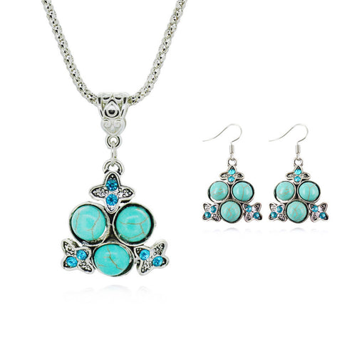 New Brand Turquoise Bridal Jewelry Sets For Women Fashion silver plated Color Statement Necklaces Earrings Fine Jewelry - onlinejewelleryshopaus