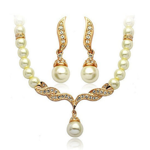 Elegant Simulated Pearl Necklace Earrings Jewelry Sets Crystal Gold Plated Jewellery Set For Women Bridal Wedding 121628 - onlinejewelleryshopaus