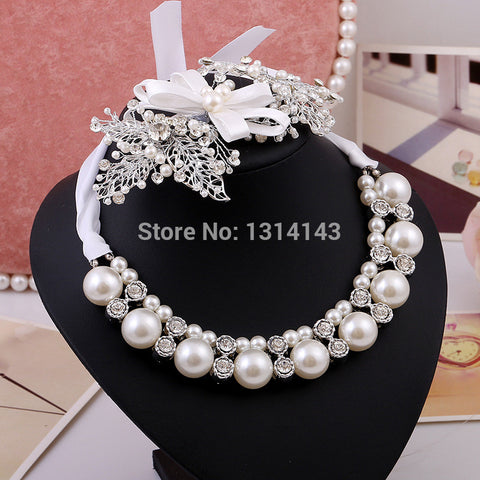 The new bridal wedding pearl jewelry earrings necklace alloy upscale accessories Jewelry Set jewellery crystal noiva - onlinejewelleryshopaus