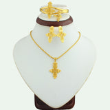 2016 The New Ethiopian Small Size Cross Jewelry Set With 24k Gold Plated Fashion Bridal Jewelry Set For Women - onlinejewelleryshopaus