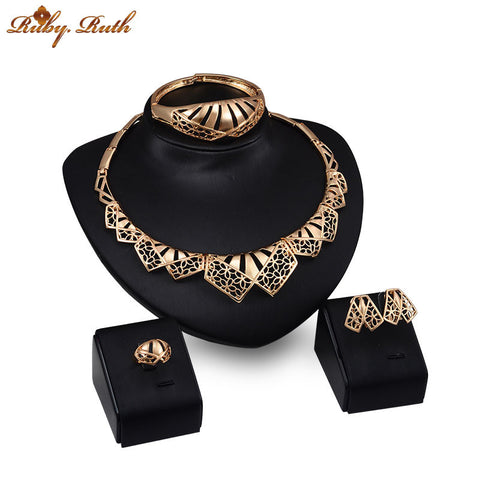jewelry sets african Gold plated earing necklace women crystal beads bridal Fashion wedding dubai sieraden jewellery set - onlinejewelleryshopaus
