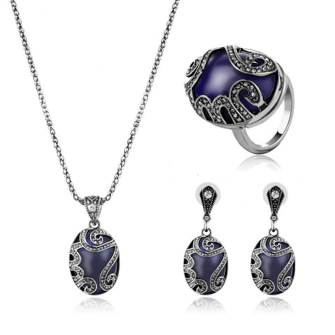 2017 Turkey Jewelry sets New Fashion Antique Silver Plated Jewelry Water Drop Crystal Peacock Bridal Wedding Jewelry Sets - onlinejewelleryshopaus