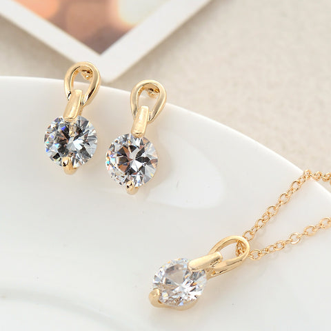 2016 New Brand Wedding Bridal Jewelry Sets Gold Platinum Plated Micro Inlay Cubic Zircon Pendant/Earrings Set  XY-N138 - onlinejewelleryshopaus