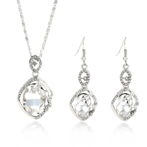New Wedding Jewellery Set Austrian Crystal Bridal Jewelry Sets For Women Statement Necklace/Earrings Set Wedding Jewelry Gifts - onlinejewelleryshopaus