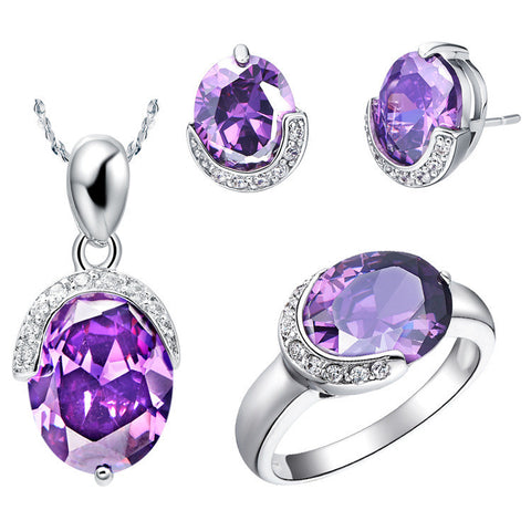 S60025 Amethyst arabic jewellery set,  wholesale jewelry artificial bridal jewelry with big stone for women - onlinejewelleryshopaus